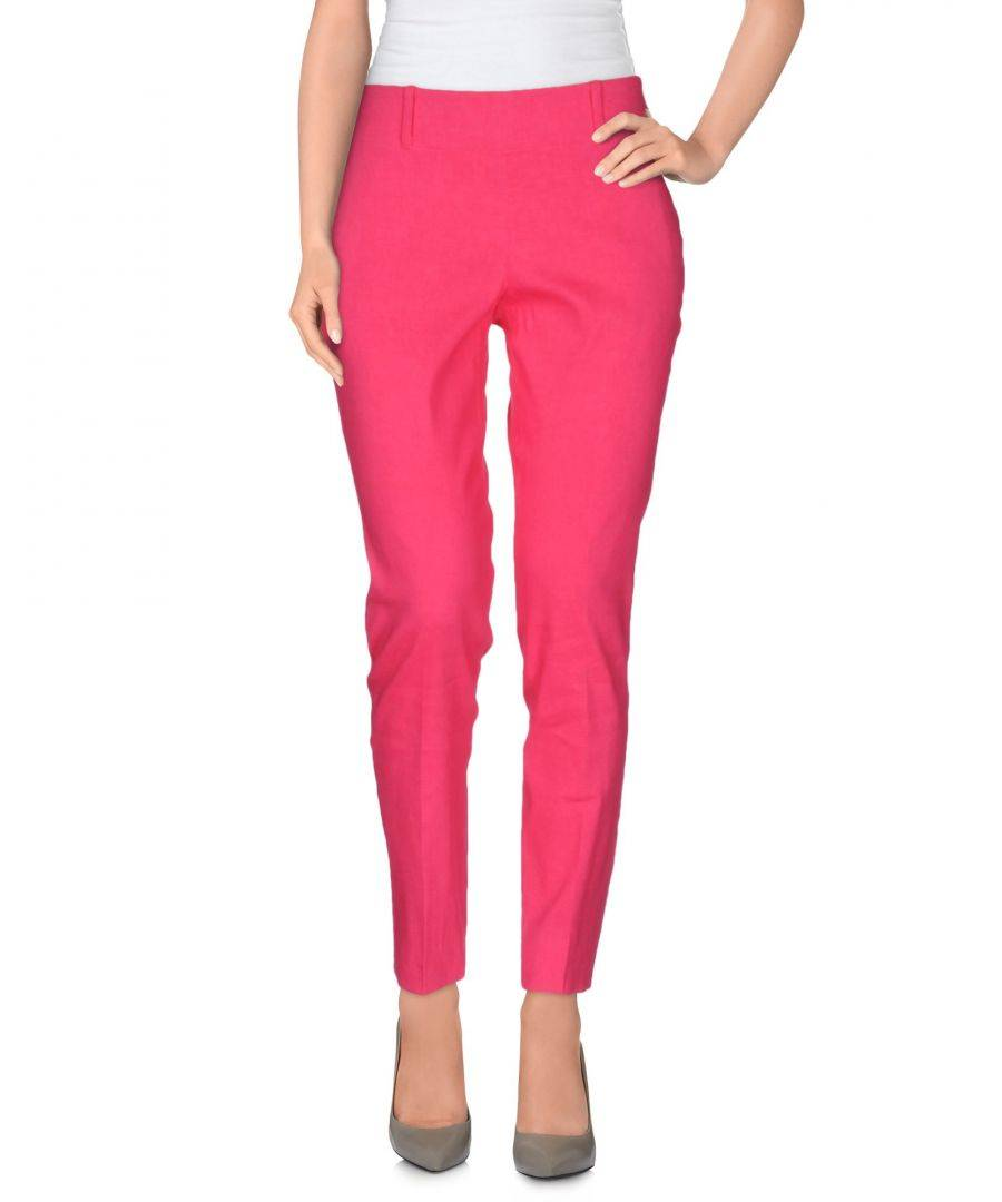 Vdp Collection Womens TROUSERS Woman Fuchsia Linen - Size 10