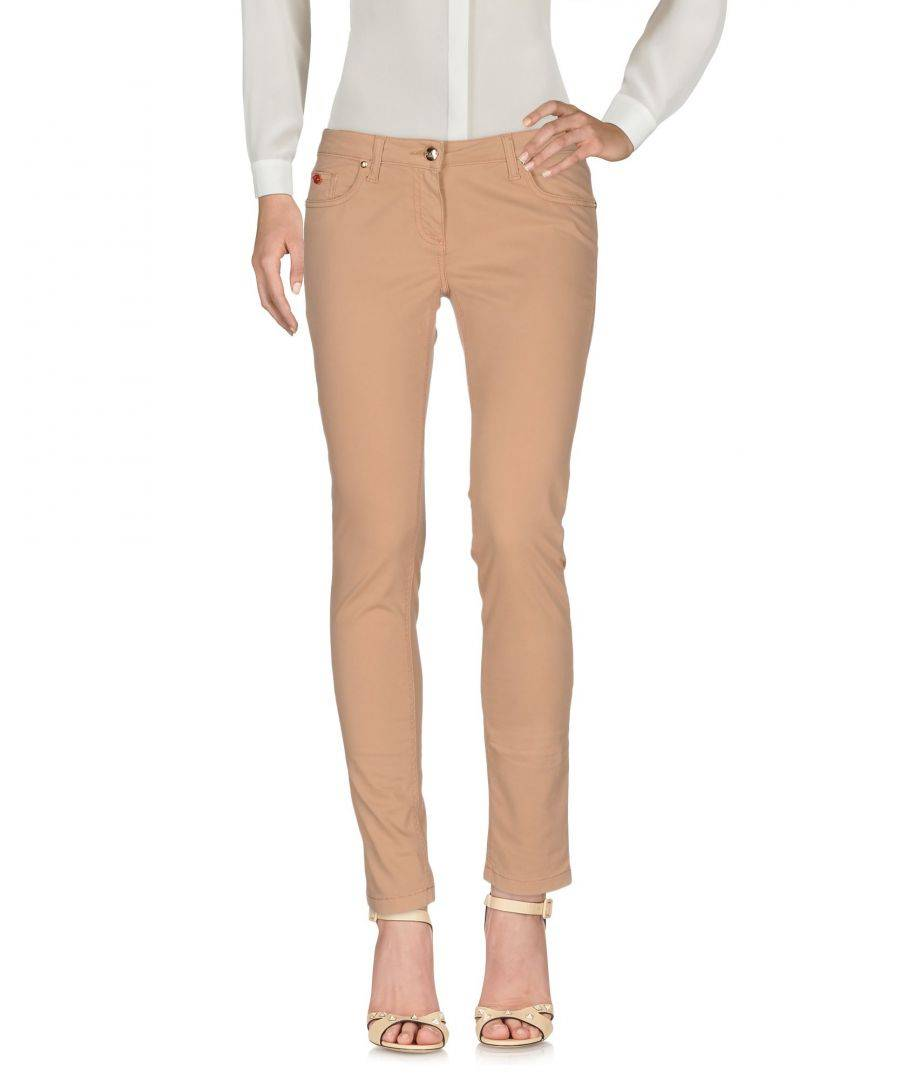 Betty Blue Womens Sand Cotton Tapered Leg Trousers - Size 31