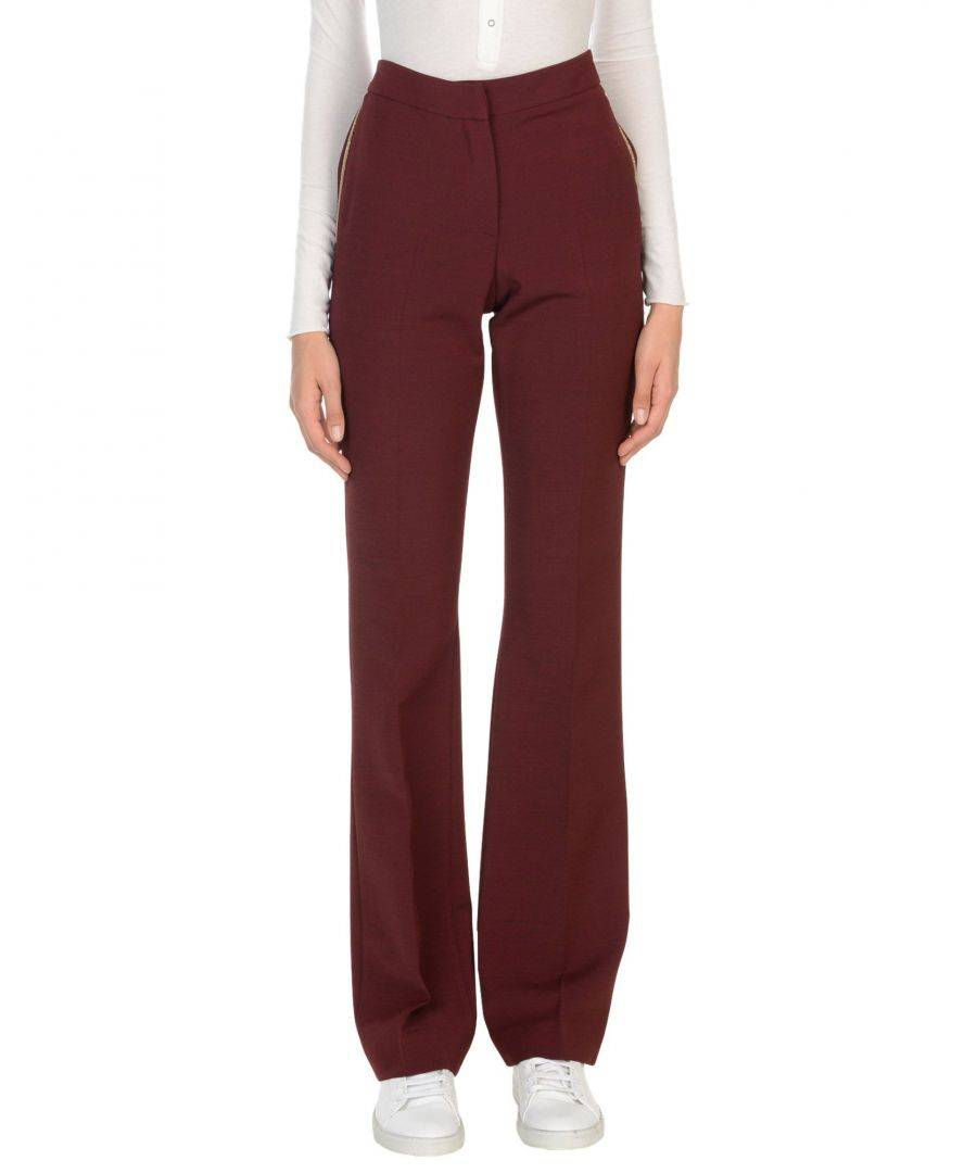 Vdp Collection Womens TROUSERS Woman Maroon Viscose - Purple - Size 14