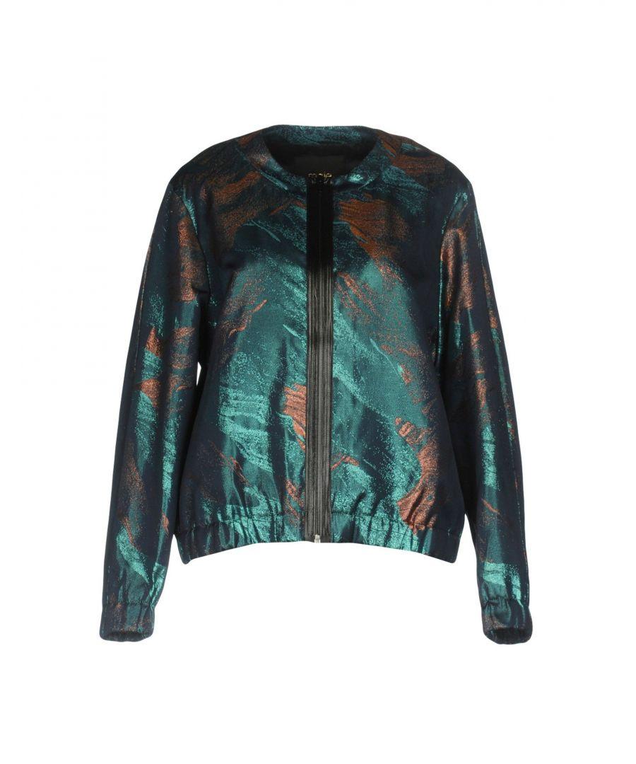 Maje Deep Jade Lame Jacket  - Green - Size: 8