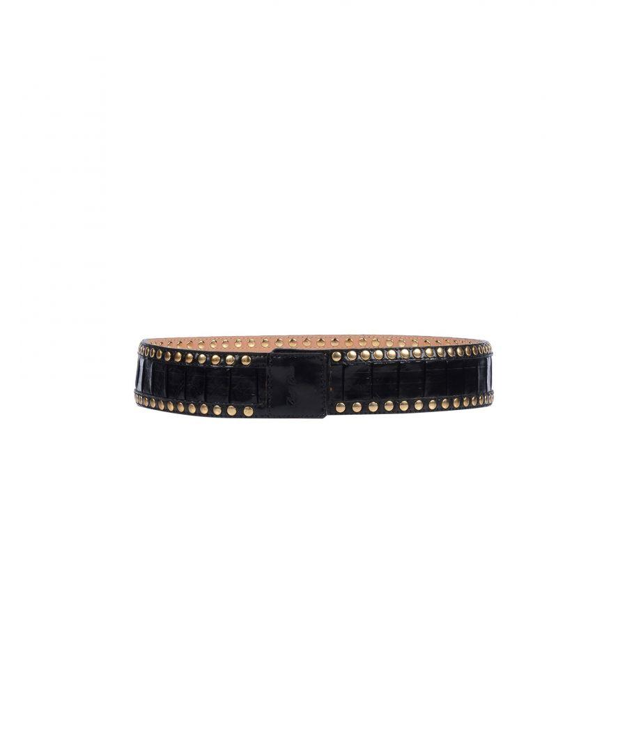Betty Blue Womens Black Leather Studded Belt - Size 65cm