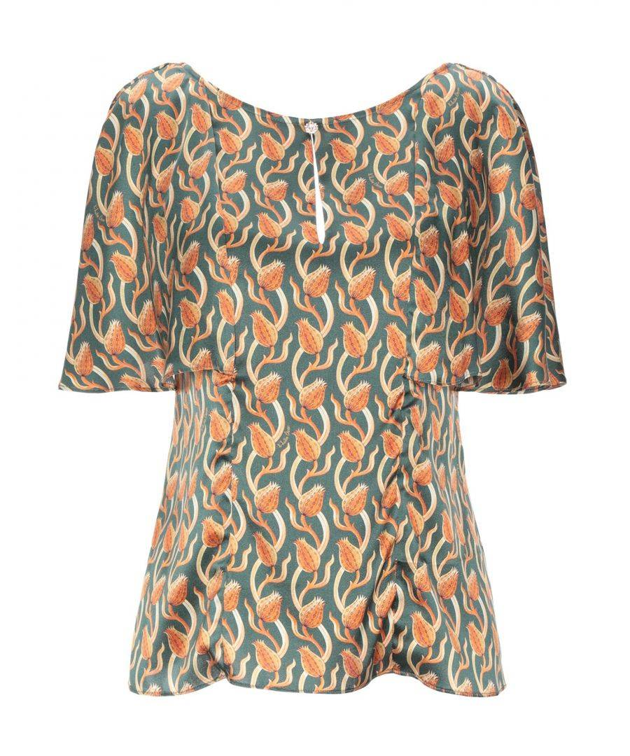 L' Autre Chose Womens Woman Blouses Silk - Green - Size 12