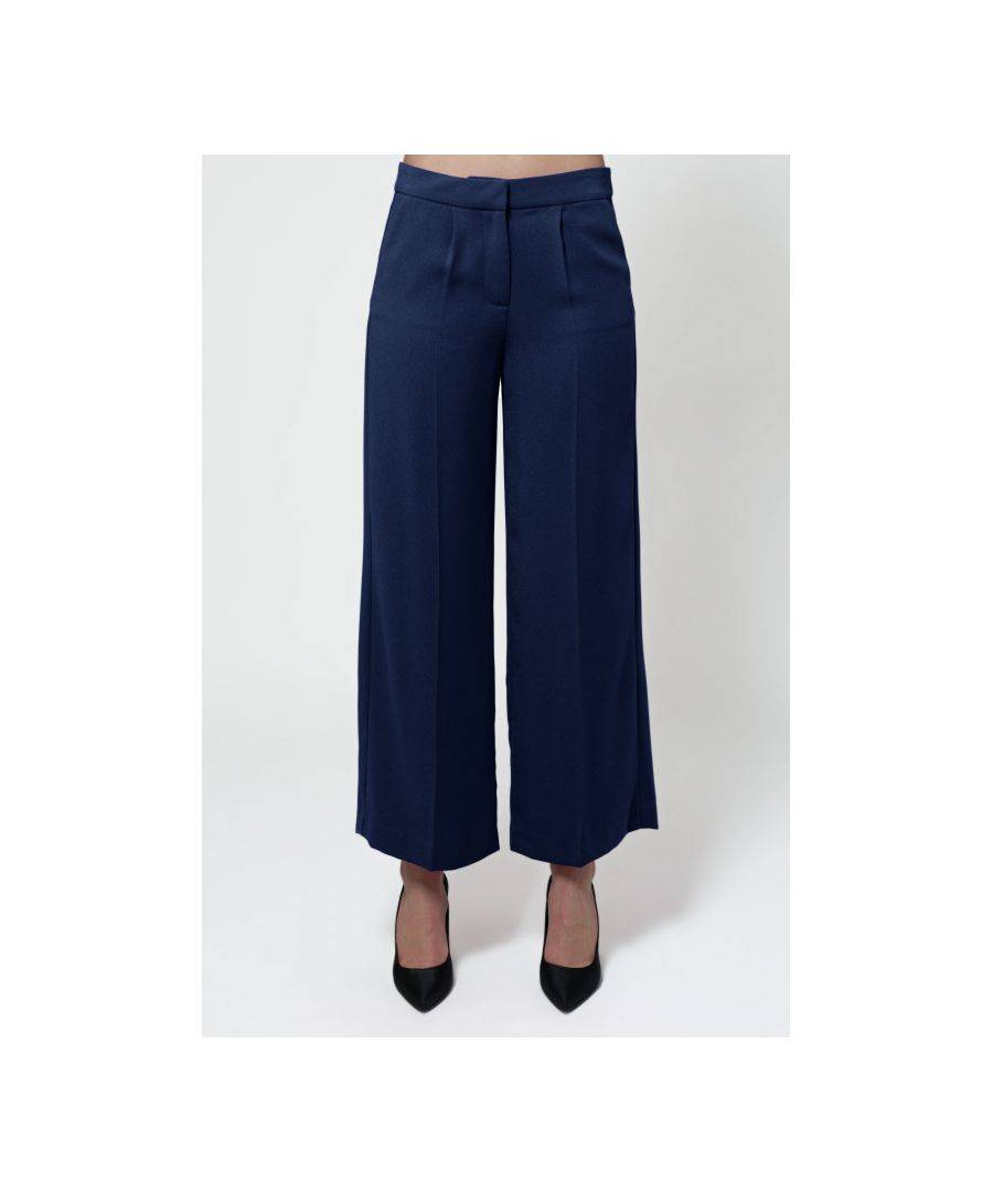 Javier Larrainzar Collection Palazzo Trousers  - Navy - Size: 40