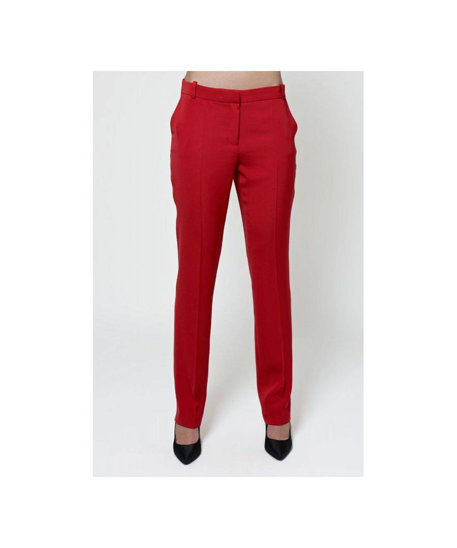 Javier Larrainzar Collection Straight Leg Trousers  - Red - Size: 42