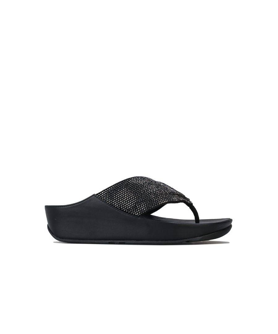 Fitflop Women's Fit Flop Twiss Crystal Toe Thong Sandals in Black  - Black - Size: 4