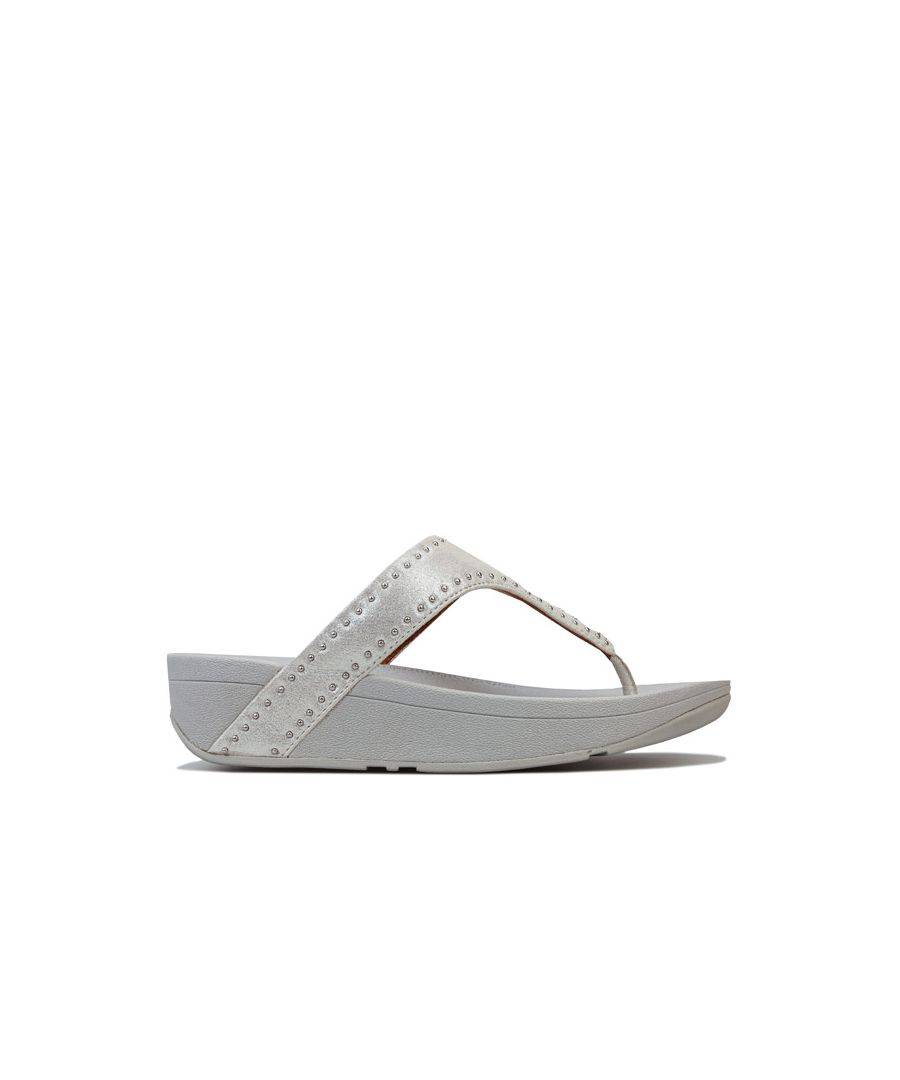 Fitflop Women's Fit Flop Lottie Microstud Toe Thong Sandals in Silver  - Silver - Size: 5