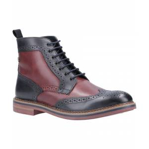 Base London Banner Burnished Lace Up Brogue Boot  - Navy - Size: 8