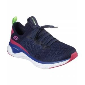 Skechers Solar Fuse Stretch Flat Knit Laced Slip On Trainer  - Navy - Size: 3