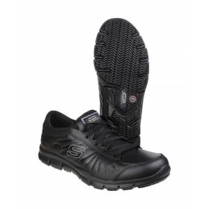 Skechers Womens/Ladies Eldred Slip Resistant Lace up Work Safety Shoes  - Black - Size: 5
