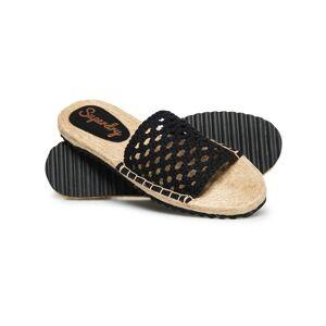 Superdry Macrame Espadrille Slides  - Black - Size: 4