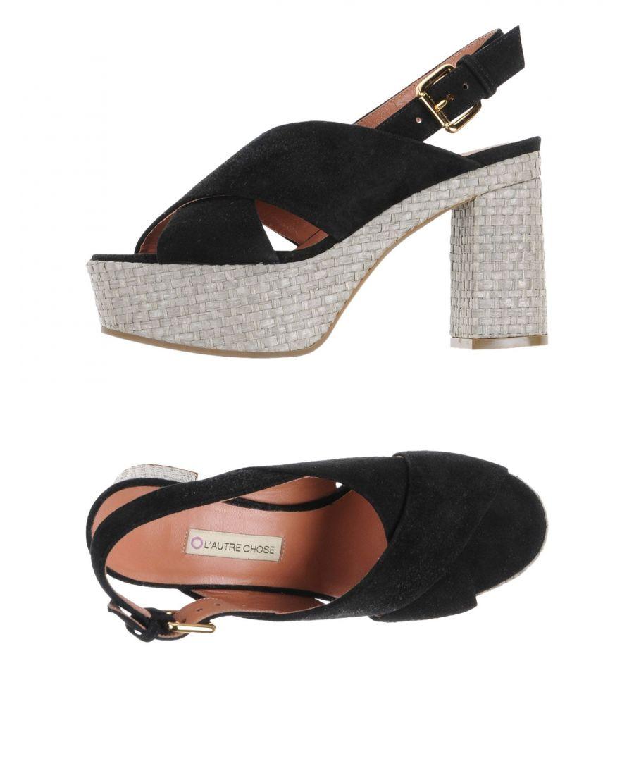 L' Autre Chose Womens Woman Sandals Black Leather - Size 4
