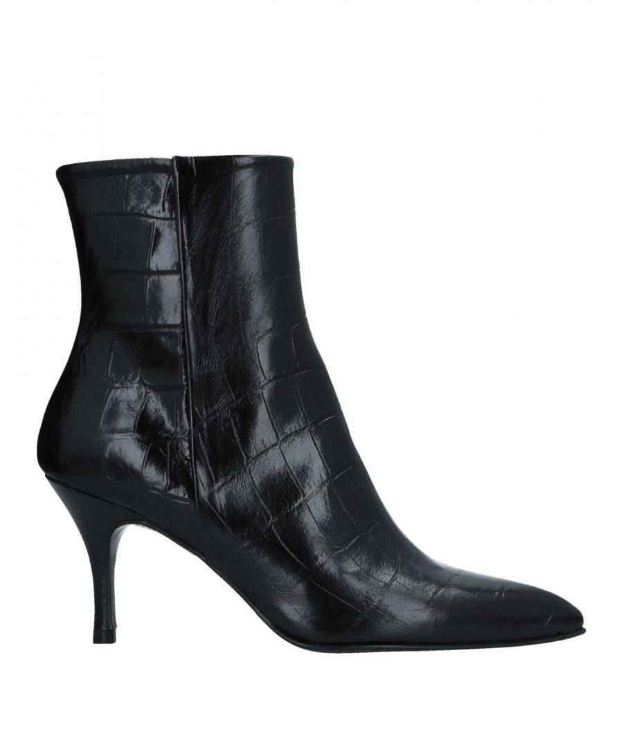 Zinda Womens Black Leather Crocodile Print Ankle Boots - Size 5
