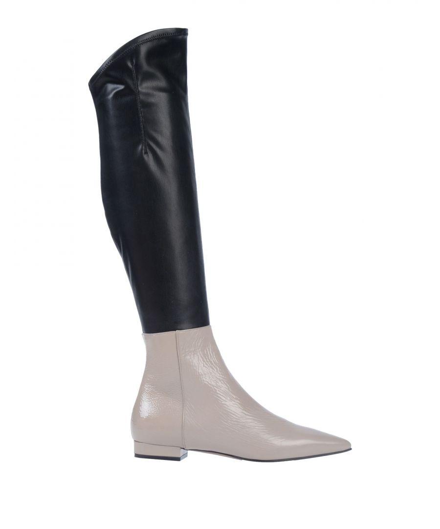 L' Autre Chose Womens Dove Grey Colourblock Leather Boots - Size 6