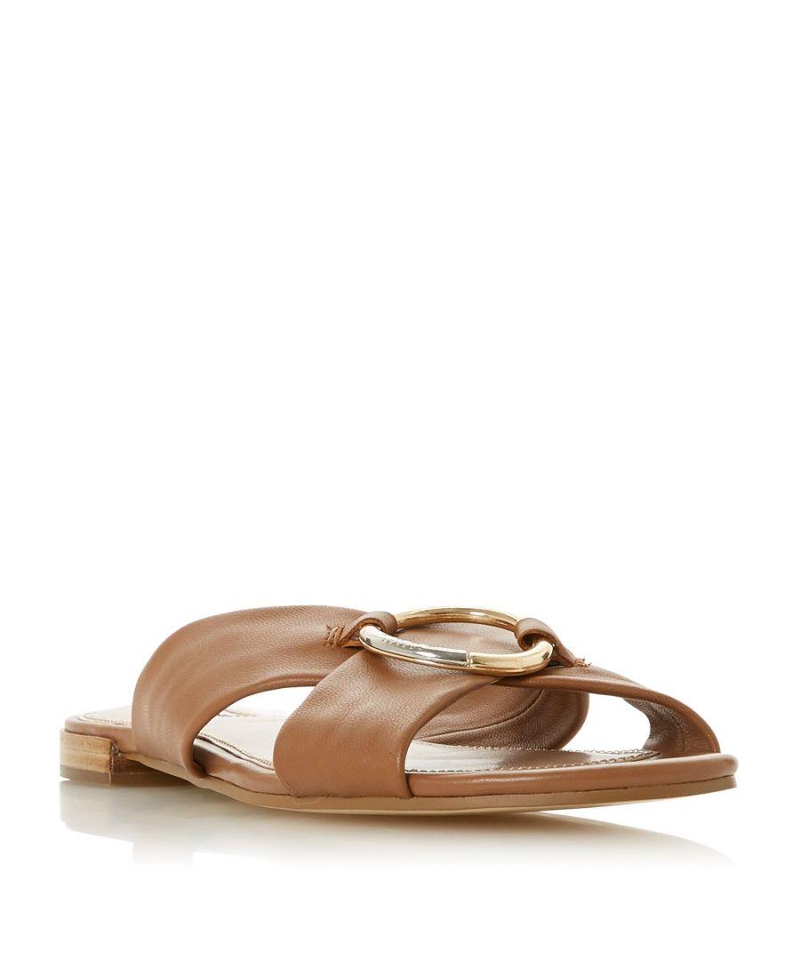 Dune London Ladies LAYSY Ring Hardware Sandal  - Tan - Size: 5