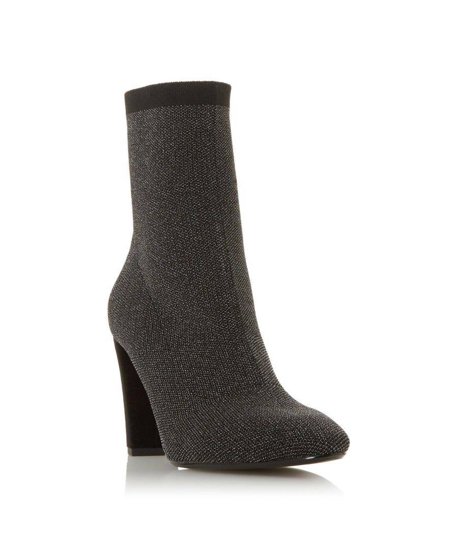 Dune London Ladies OPTICAL 2 Sparkly Knitted High Heel Sock Boot  - Grey - Size: 3