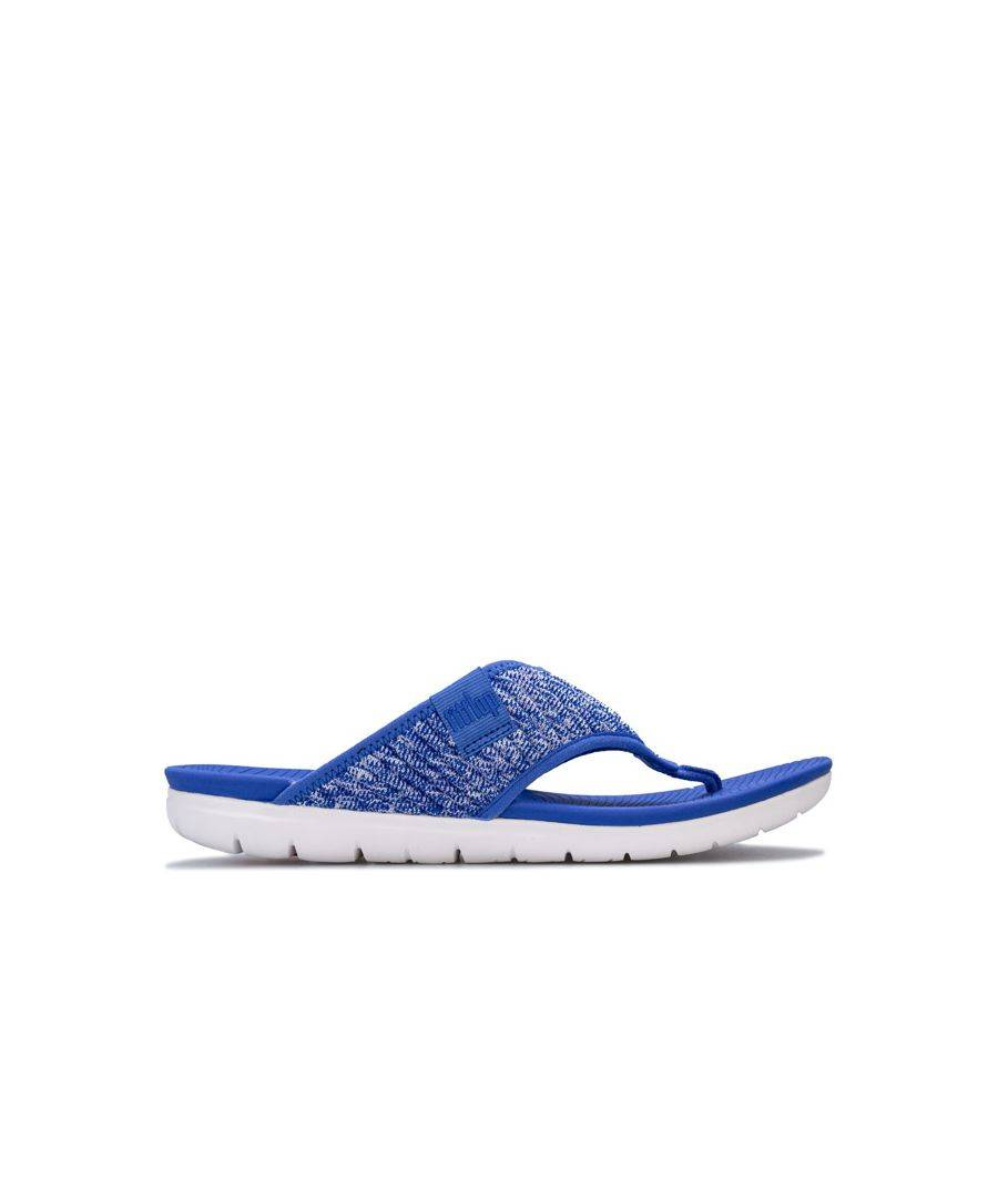 Fitflop Women's Fit Flop Artknit Toe Thong Sandals in Blue  - Blue - Size: 6.5