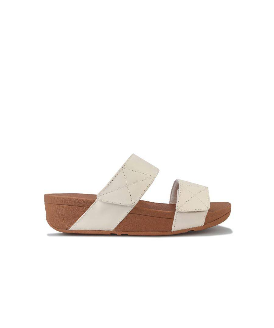 Fitflop Women's Fit Flop Mina Leather Slide Sandals in Stone  - Cream - Size: 3