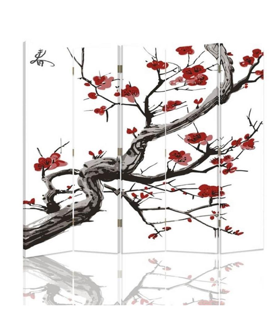 LegendArte Room Divider Cherry Blossom - Indoor Decorative Canvas Screen cm. 180x180 (5 panels) Multicolour - Size 180cm x 180cm (5 panels)