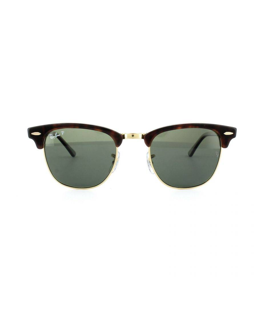 Ray-Ban Mens Sunglasses Clubmaster 3016 990/58 Red Havana Green Polarized Large 51mm - One Size