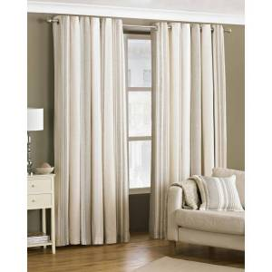 Riva Home Broadway Striped Eyelet Curtains in Coffee - Brown Cotton - Size 117cm (w) x 183cm (l)