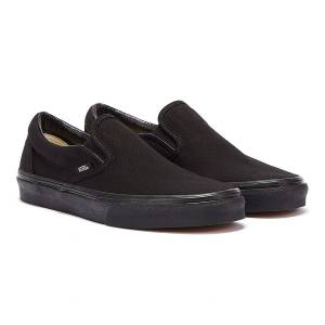 Vans Classic Slip on Black Canvas Skate Trainers  - Black - Size: UK 7