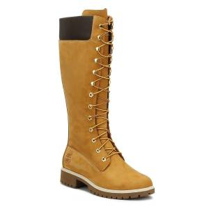 Timberland 14 Inch Premium Womens Wheat Leather Boots  - Brown - Size: UK 6.5