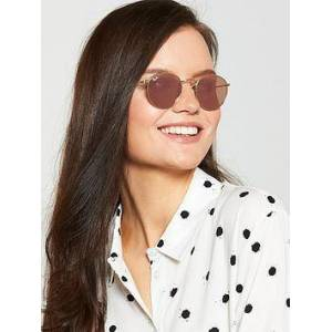 Ray-Ban Round Metal Shiny Tinted Sunglasses, Gold/Pink, Women