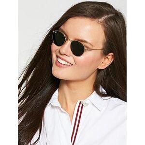 Ray-Ban Round Flat Top Sunglasses - Gold/Green, Gold/Green, Women