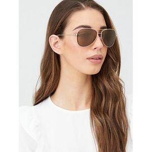 DKNY City Native Aviator Sunglasses - Gold, Gold, Women