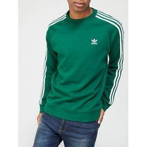 adidas Originals 3-Stripes Crew Sweatshirt - Green , Green, Size S, Men