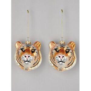 Gisela Graham Set Of 2 Glass Tiger Head Christmas Tree Decorations