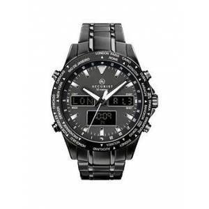 Accurist Black and Silver Detail World Time Dial Black Stainless Steel Bracelet Mens Watch, One Colour, Men