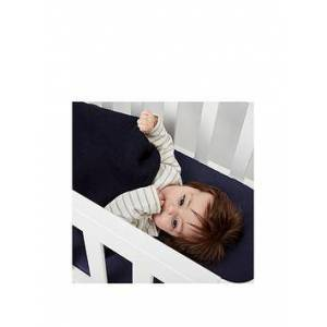 The Little Green Sheep Organic Knitted Cellular Baby Blanket, Midnight