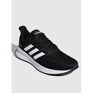adidas Run Falcon Trainers - Black/White, Black/White, Size 10, Men