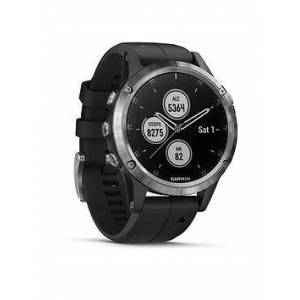 Garmin Fenix 5 Plus Multisport Watch With Music, Maps And Garmin Pay - Silver With Black Band