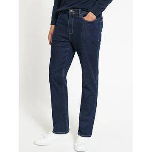 Very Man Straight Jeans with Stretch - Raw Wash, Raw, Size 36, Inside Leg Regular, Men