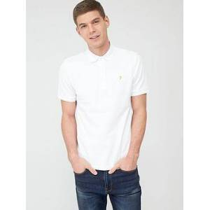 Farah Blanes Pique Polo Shirt - White, White, Size S, Men