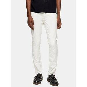 Topman Stretch Skinny Chinos - White, White, Size 30, Men
