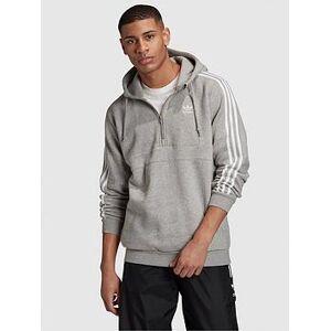 adidas Originals 3 Stripes Half Zip Hoodie - Medium Grey Heather , Medium Grey Heather, Size S, Men