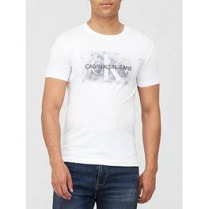 Calvin Klein Jeans Blurred Silver Monogram T-shirt - White, White, Size S, Men