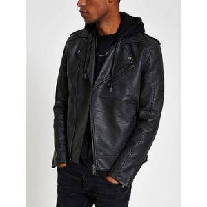 River Island Fenway Mottled Hooded Biker Jacket - Black, Charcoal, Size M, Men