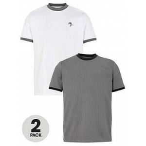 River Island Slim Fit Ringer T-Shirt (2 Pack) - Grey/White , Multi, Size M, Men