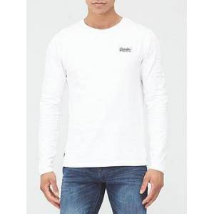 Superdry Orange Label Embroidered Long Sleeve Top - White, White, Size Xl, Men