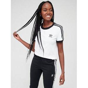 adidas Originals 3 Stripe Tee - White, White, Size 6, Women