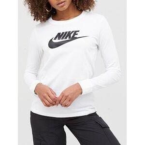 Nike NSW Essential Icon Futura LS Top - White, White, Size S, Women