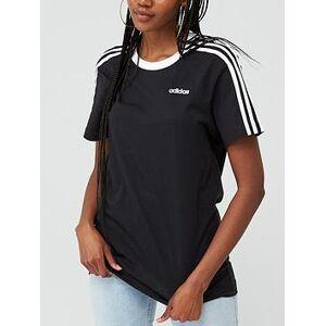 adidas Essentials 3 Stripe Boyfriend Tee - Black, Black, Size L, Women
