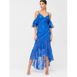 Little Mistress Maxi Applique Chiffon Dress - Blue, Blue, Size 14, Women