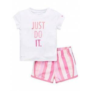 Nike Infant Girls Dri FIT Stripe Tempo Running Shorts - Pink, Pink, Size 24 Months, Women