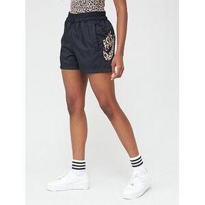 Nike NSW Animal Print Logo Woven Shorts - Black , Black, Size L, Women