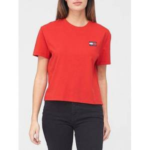 Tommy Jeans Tommy Badge T-shirt - Red, Red, Size L, Women